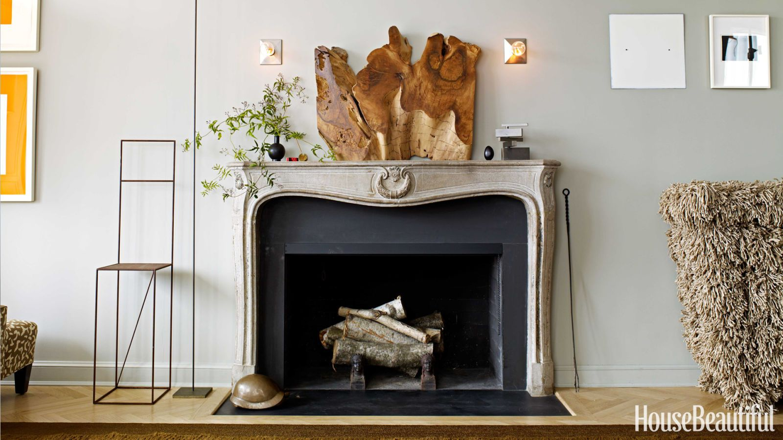 wood sculpture mantelpiece