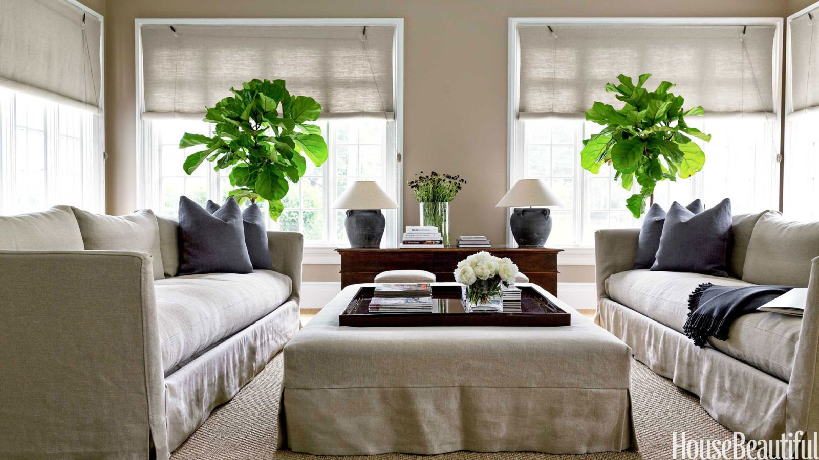 white linen blinds