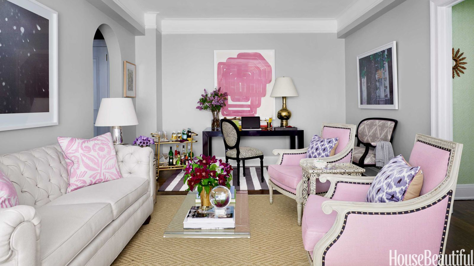 pink living room chairs