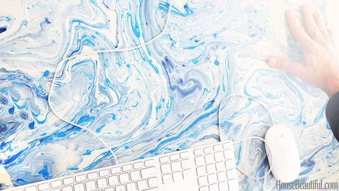 blue and white marbled paper