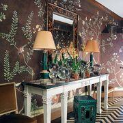Interior design, Room, Lamp, Lampshade, Interior design, Home, End table, Wallpaper, Houseplant, Stool,