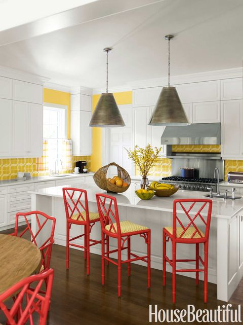 Room, Furniture, Kitchen, Yellow, Interior design, Property, Countertop, Dining room, Orange, Building,