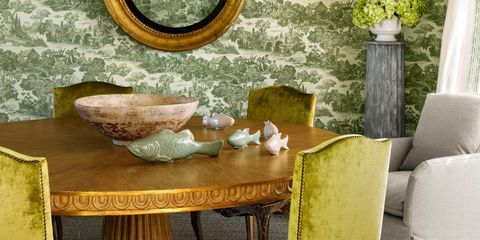 green toile dining room