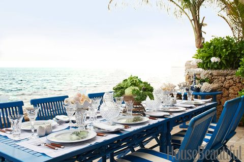 Furniture, Table, Outdoor furniture, Outdoor table, Chair, Dishware, Linens, Tableware, Ocean, Restaurant,