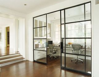 sliding glass doors divide the study area