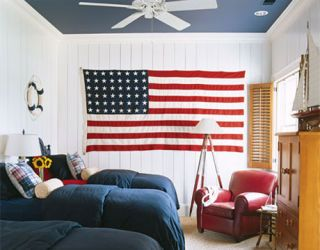 red white and blue themed kids room