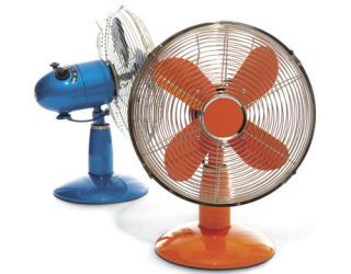 multi-colored fans