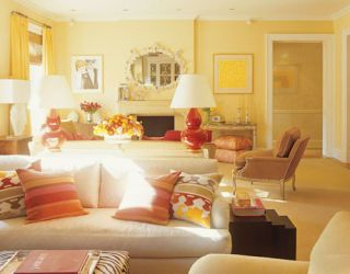 yellow and red living room
