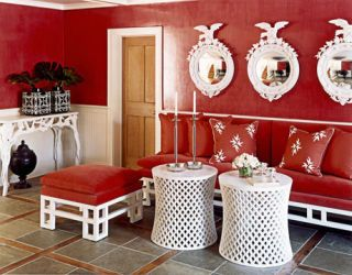 red and white foyer
