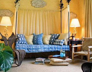 yellow room with a daybed