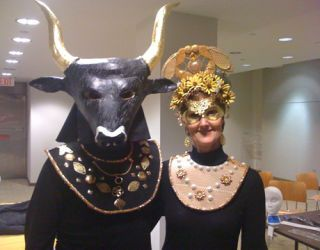 bull costume and queen bee costume