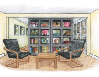 illustration of seating area with bookshelves