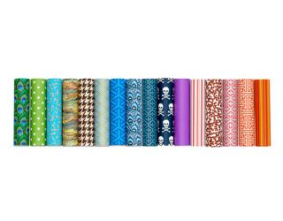 row of colorful candle sleeves