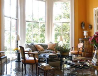 bright orange sitting room