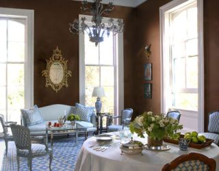 blue white and chocolate dining room