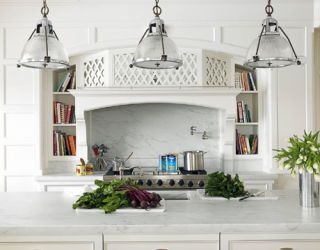 kitchen island and stove