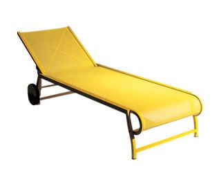 an armless yellow chaise longue