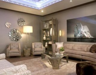 neutral living room with neutral furniture and accessories