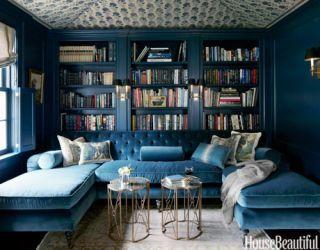 dark blue library