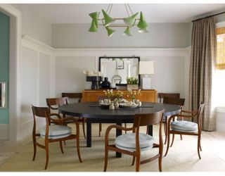 dining room with vintage light fixture round table and chairs