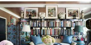 living room with large bookcase