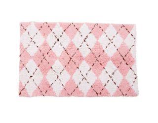 pink argyle bath mat