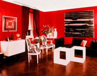 red 1970s living room