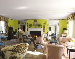 18th-century living room painted in green