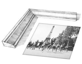 black and white photo with white frame