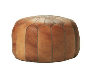 tan leather pouf