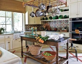 suspended pots and pans in a kitchen
