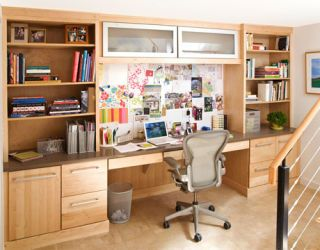 home office desk with custom cabinets