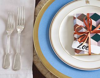 place setting with forks on left of plates