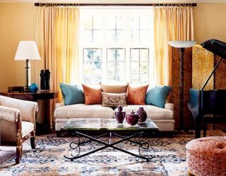 living room with blue and rust colors