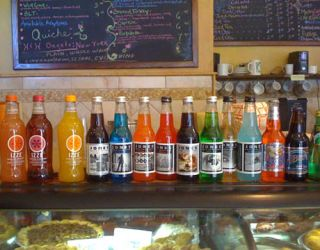 soda bottles on a counter