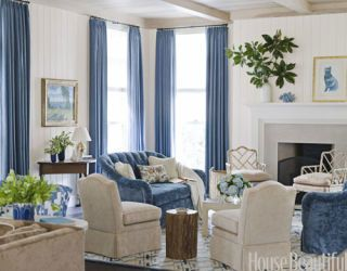 blue and cream colored living room