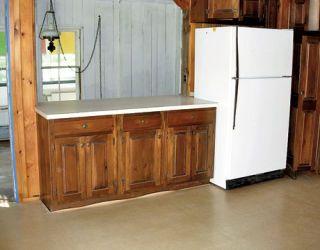 old wood kitchen with fridge