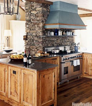 kitchen stone chimney