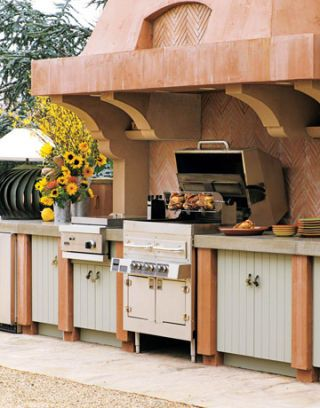 outdoor kitchen range with grill