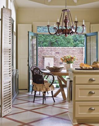 vintage tole chandelier over breakfast table