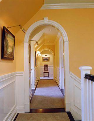bright orange hallway
