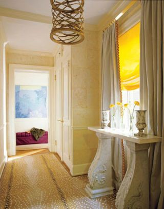 yellow and marble entry hall