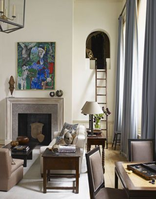 living room with picasso painting