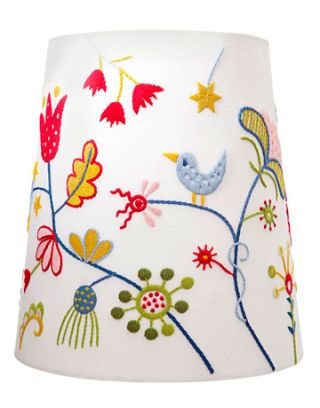 lamp shade with bird and flowers