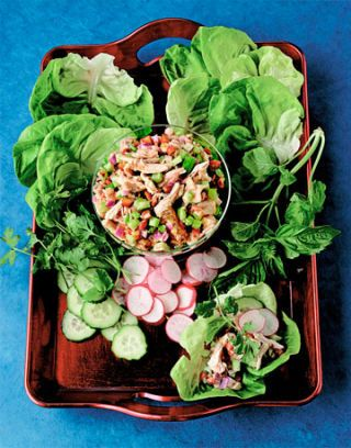 chicken lettuce cucumbers and radishes