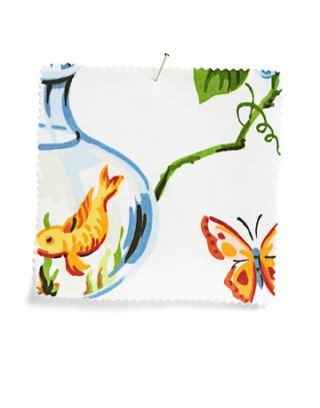 white fabric swatch with goldfish and butterfly print