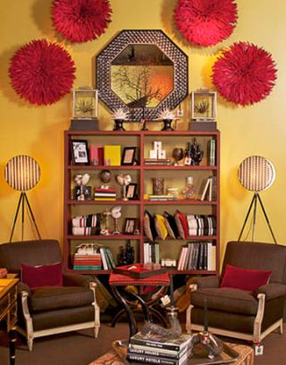 yellow wall with red head dresses