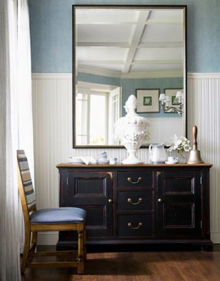 sideboard with large mirror
