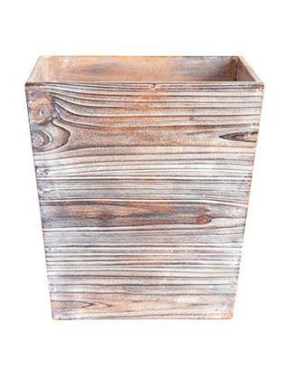 wooden wastebasket