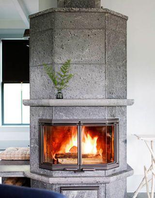 gray fireplace